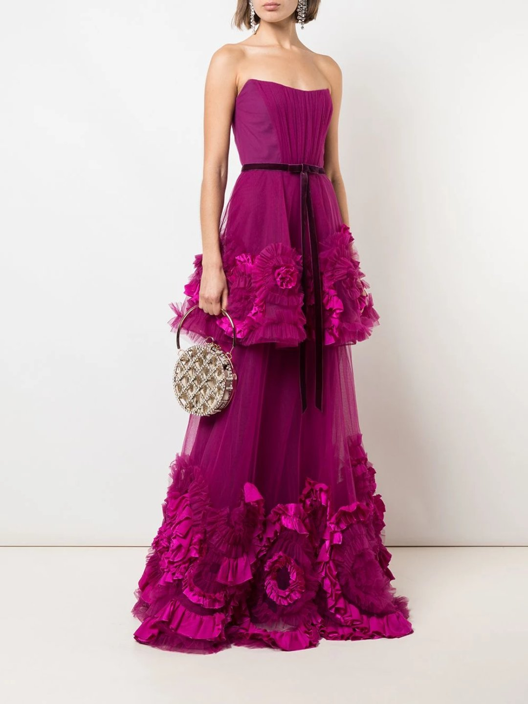 Mix Media Texture Tiered Gown