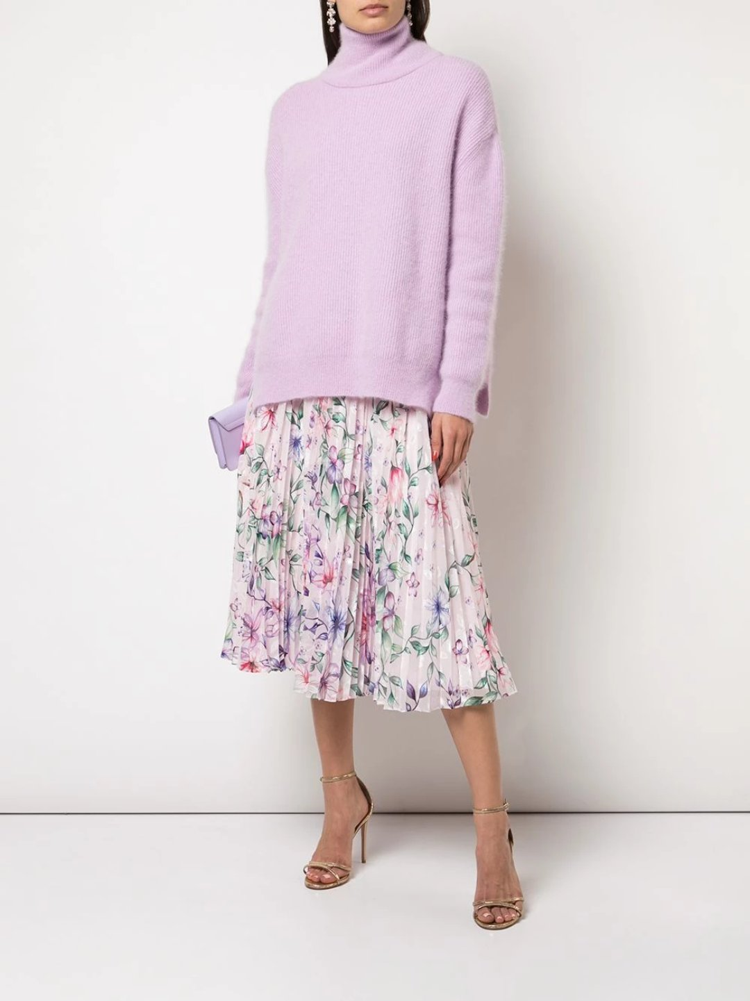 Pleated Printed Burnout Chiffon Cocktail