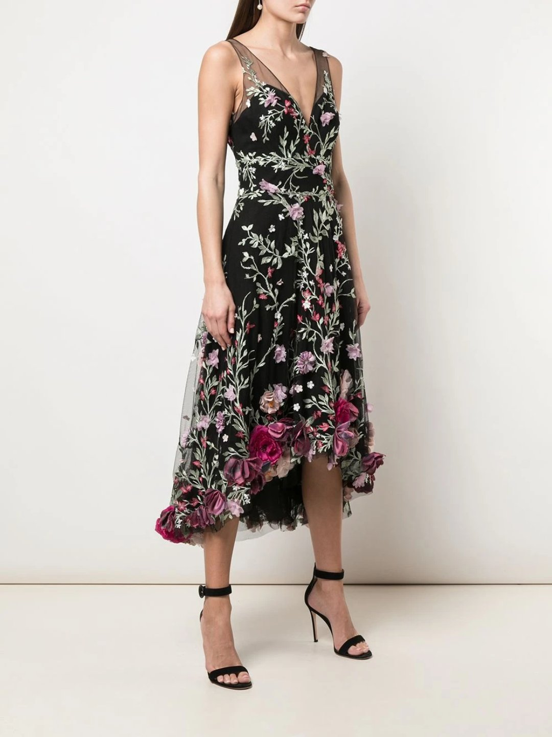 3D Floral Embroidered Hi-Low Cocktail