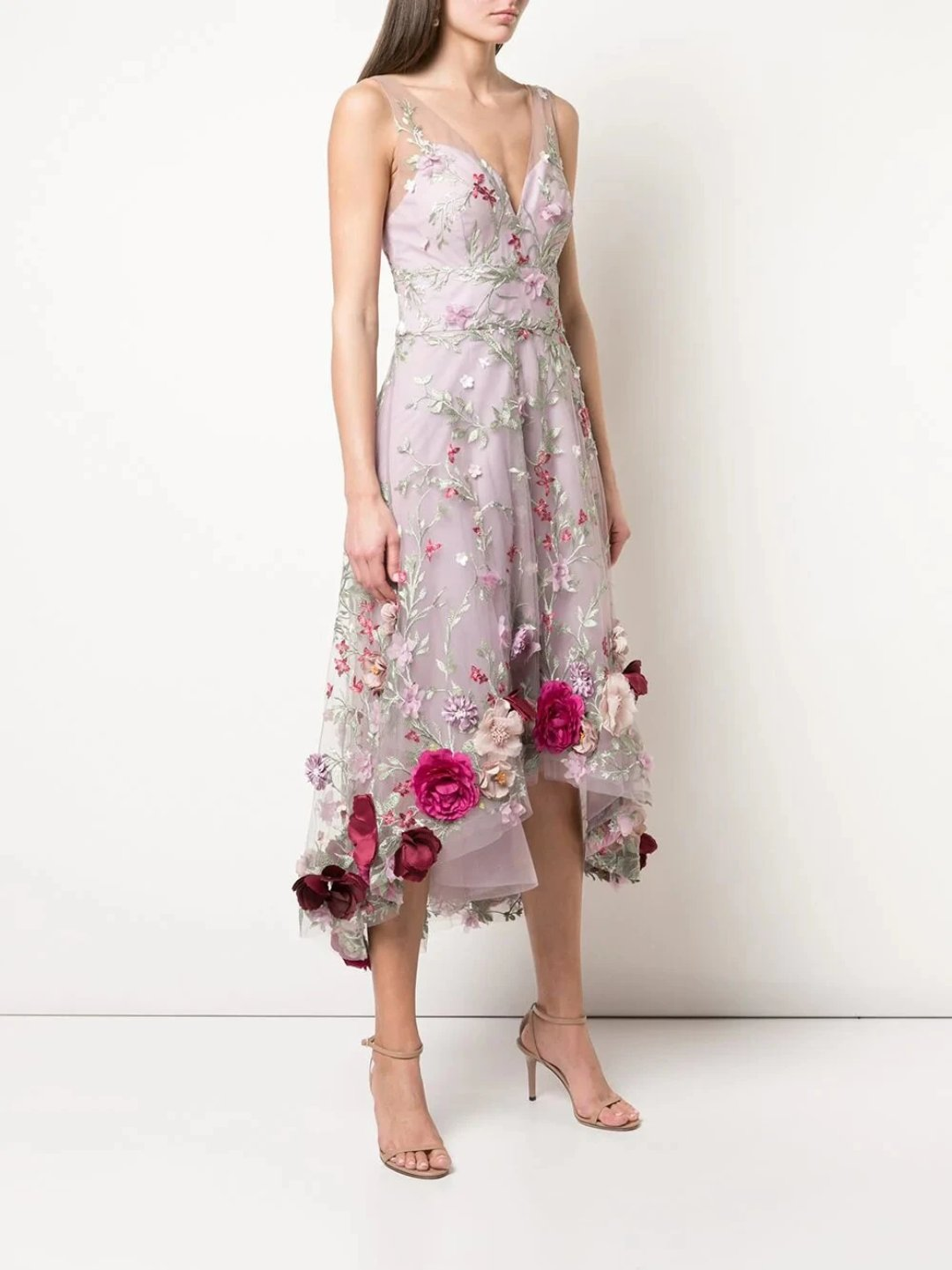 3D Floral Embroidered Hi-Low Cocktail Dress