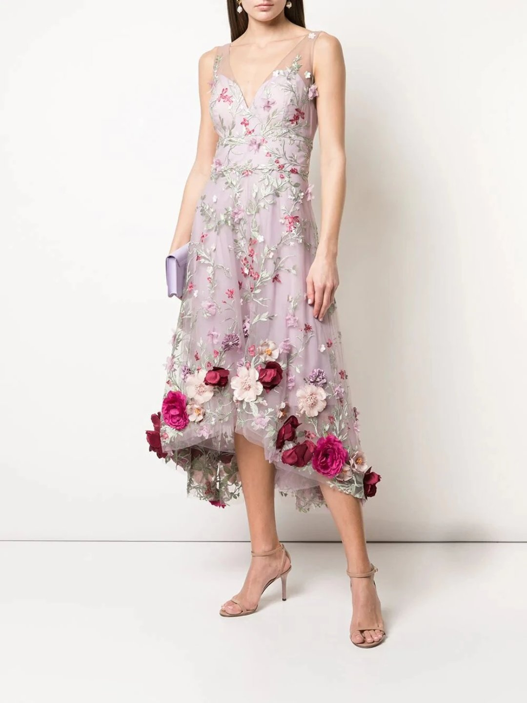 3D Floral Embroidered Hi Low Cocktail Dress