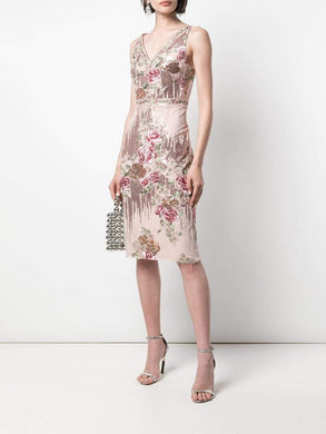 Sequin Embroidered Fitted Dress