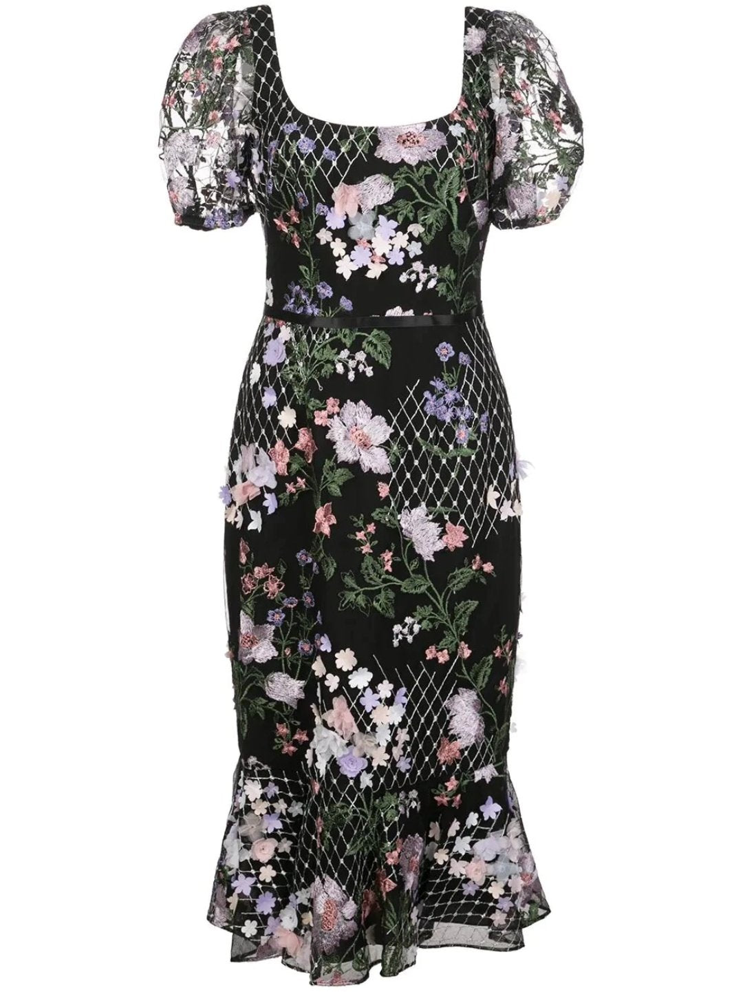 3D Floral Embroidered Cocktail Dress