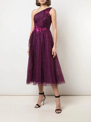 One-Shoulder Draped Glitter Tulle Tea-Length
