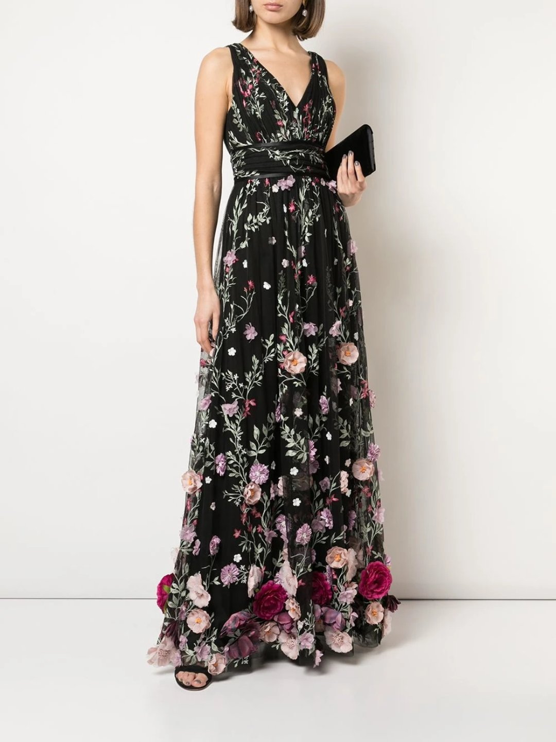 V-Neck Sleeveless 3D Floral Embroidered Gown