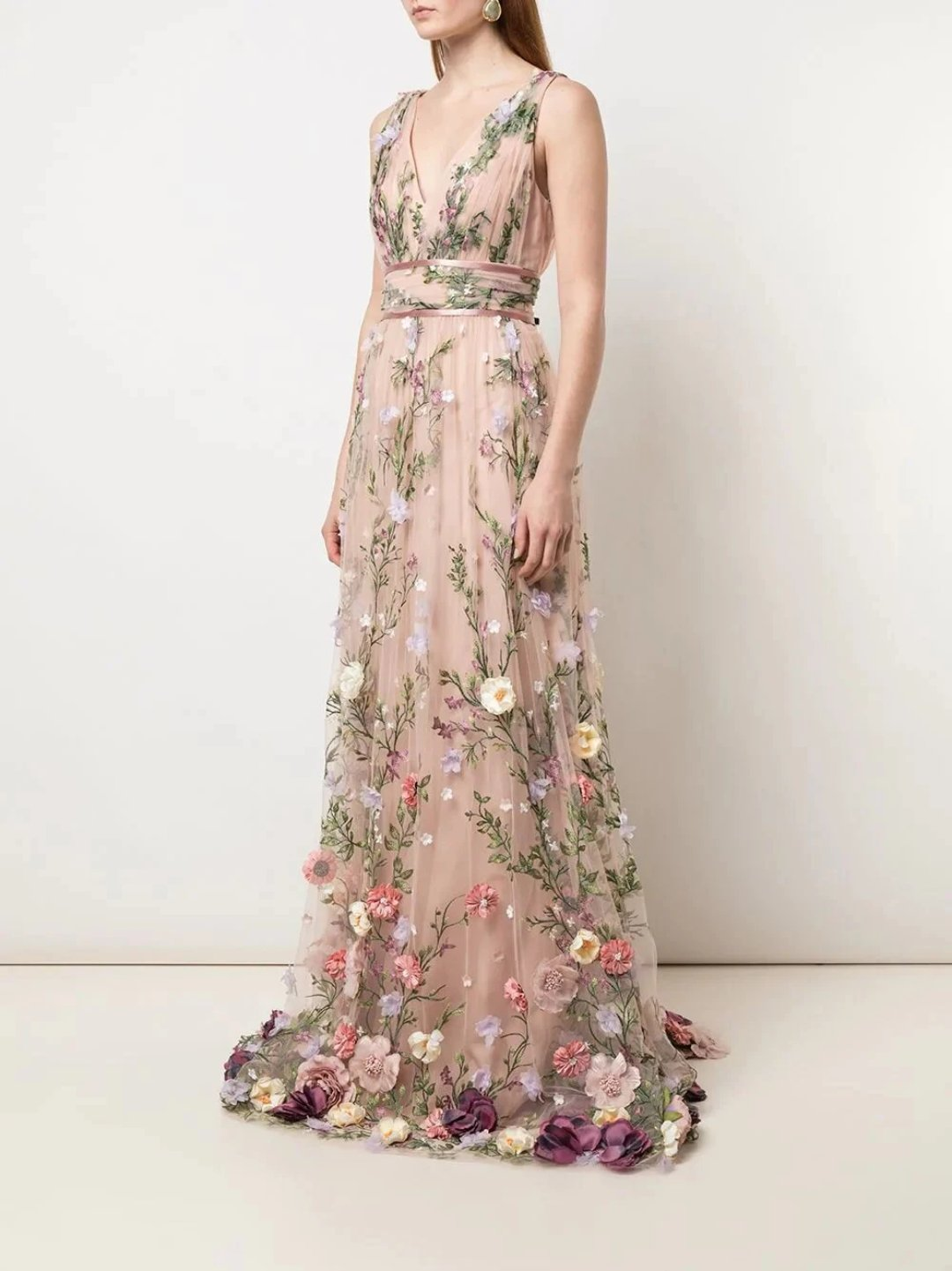 V-Neck 3D Floral Embroidered Gown