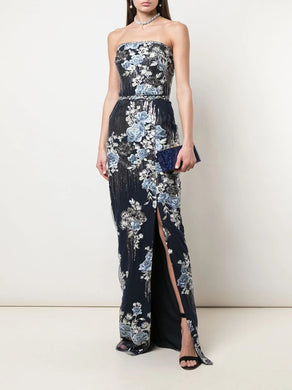 Strapless Sequin Embroidered Fitted Gown