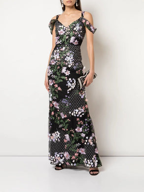 Draped 3D Floral Fit To Flare Gown