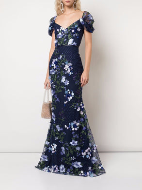 Draped Cold Shoulder Floral Gown