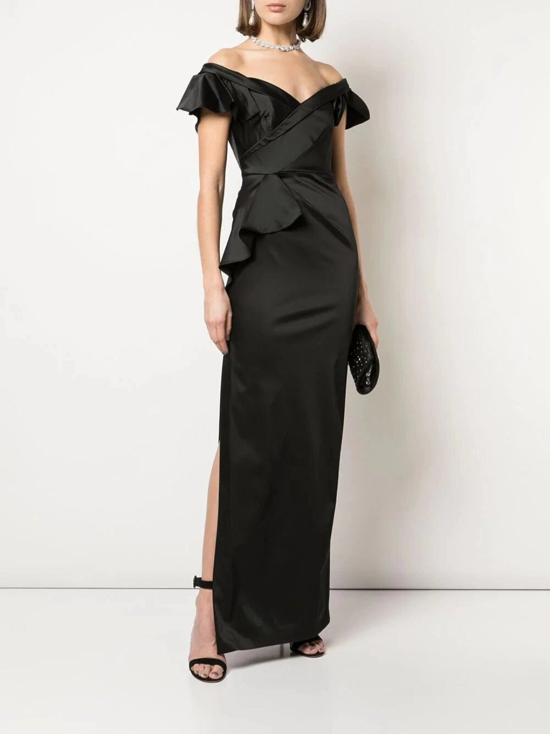 Off-the-Shoulder Strap Satin Draped Gown