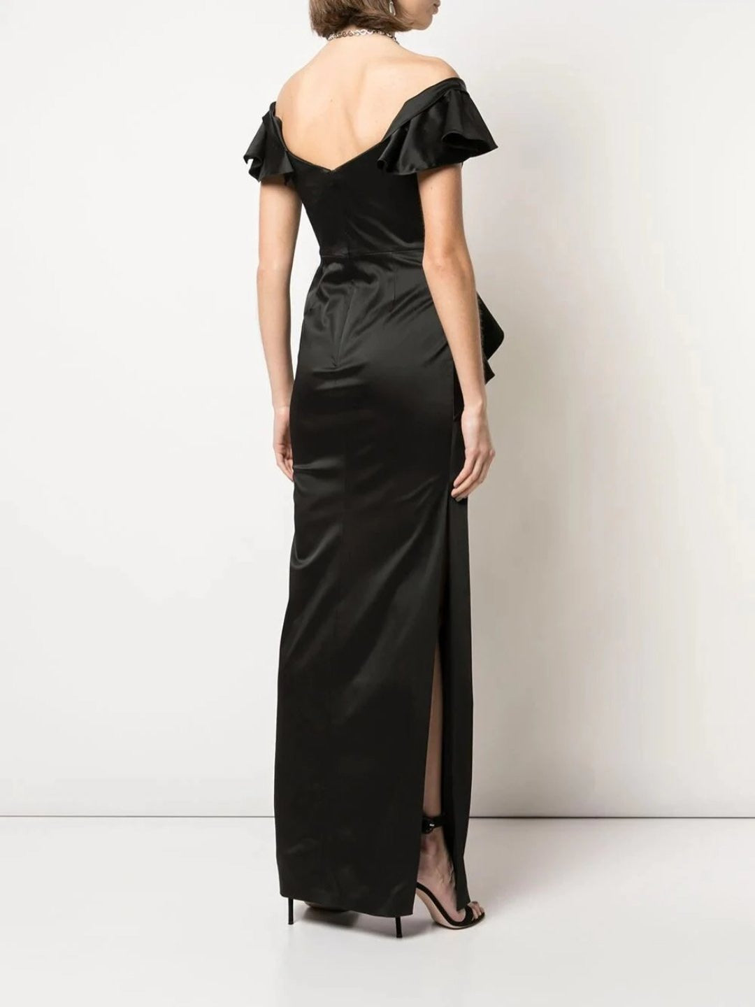 Off The Shoulder Strap Satin Draped Gown