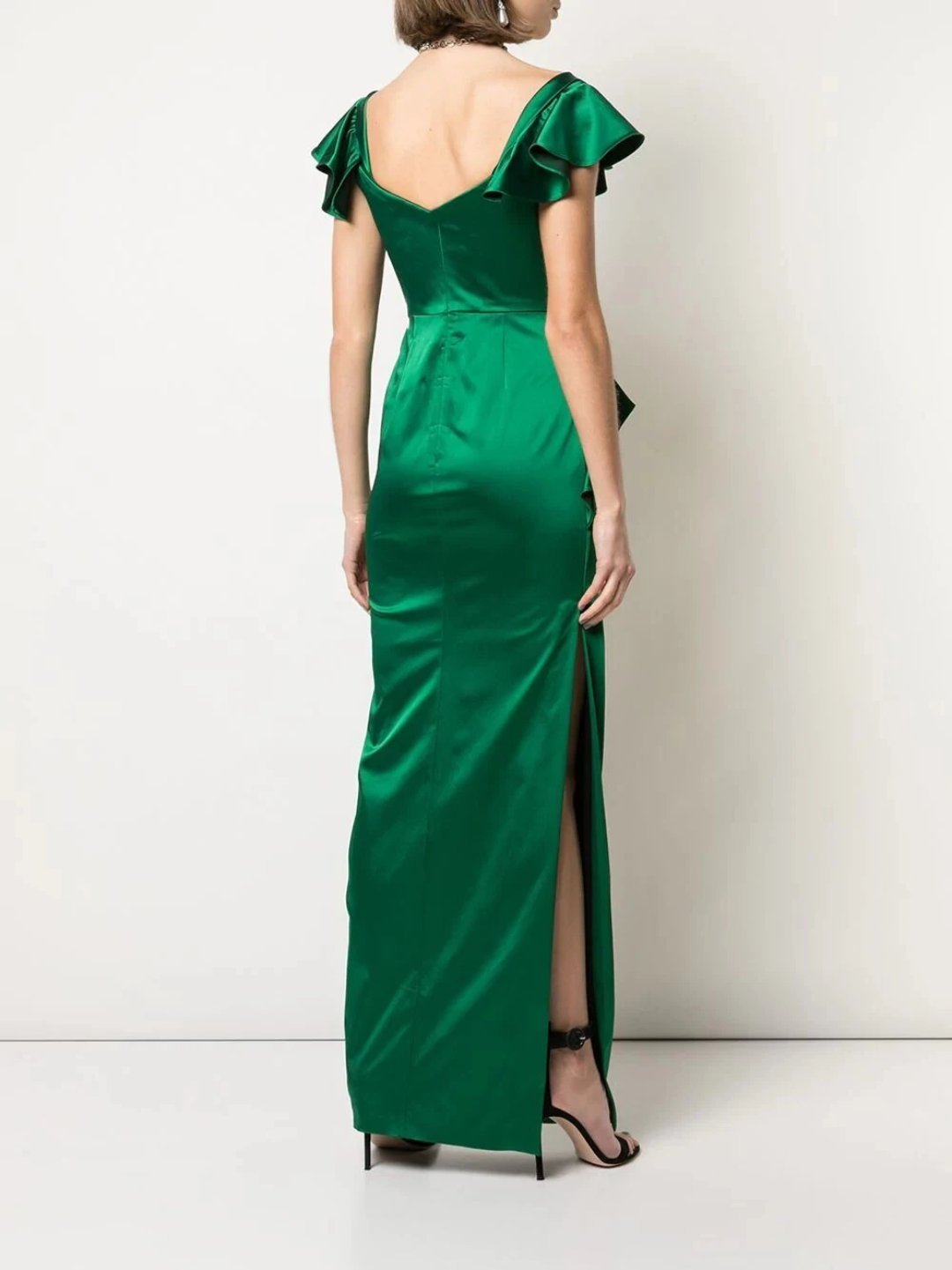 Off-the-Shoulder Satin Draped Gown