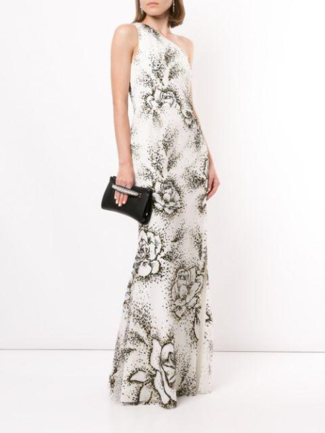 Floral One-Shoulder Gown