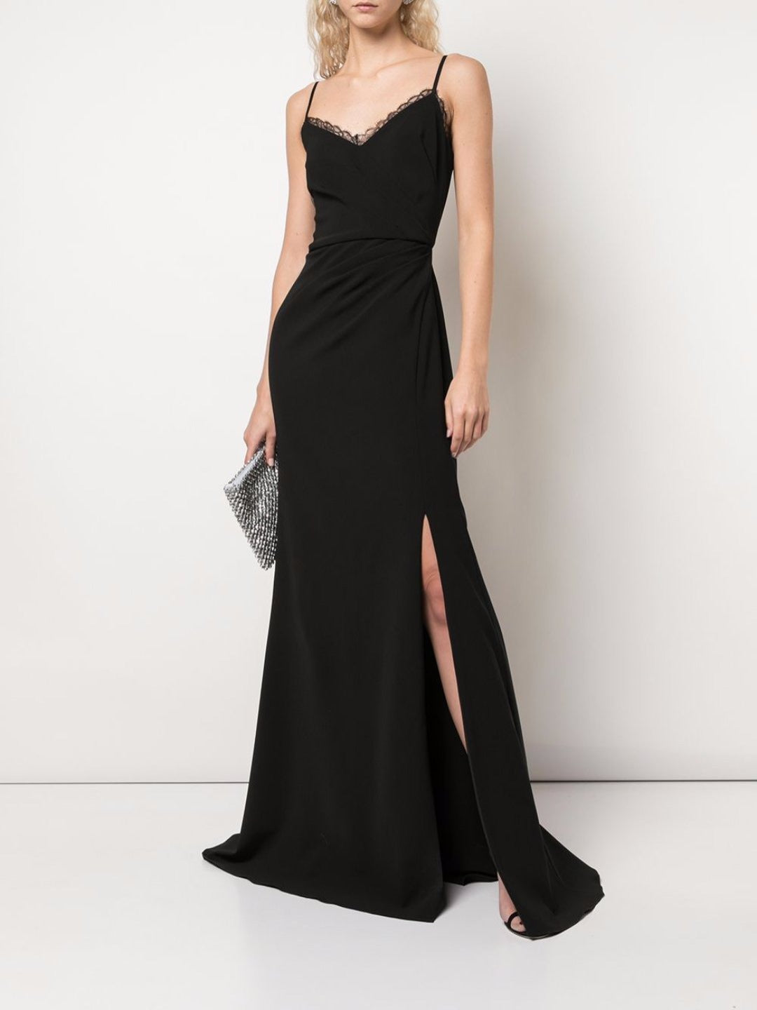 Strap Crepe Ruffle Gown