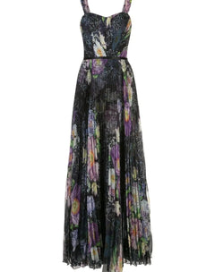 Load image into Gallery viewer, Floral Print Pleated Chiffon Gown