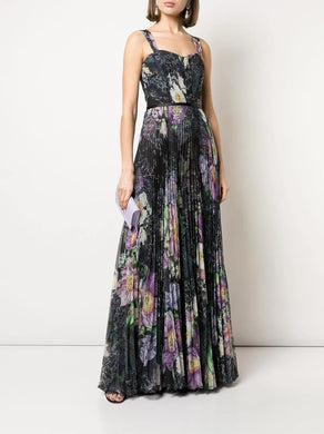 Floral Print Pleated Chiffon Gown
