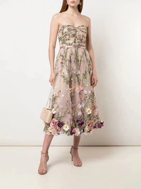 Strapless 3D Floral Embroidered Tea-Length Dress
