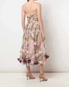 Load image into Gallery viewer, Strapless 3D Floral Embroidered Tea Length Dress