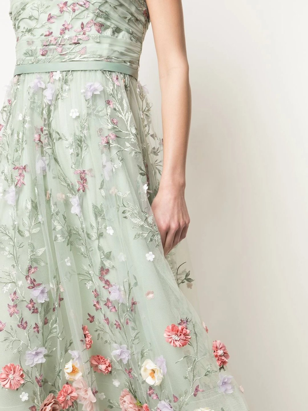 Strapless 3D Floral Embroidered Tea Length Dress