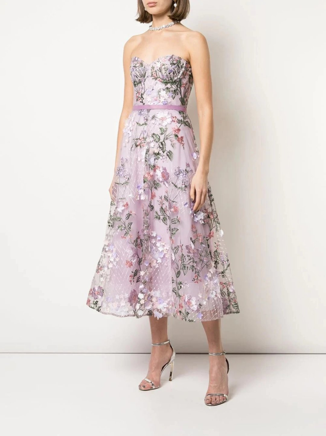 Strapless 3D Floral Embroidered Tea Length