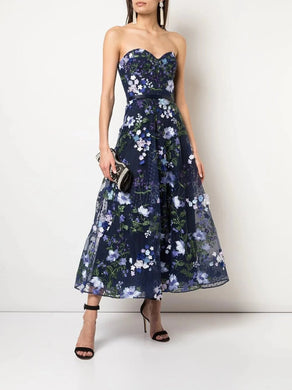 Strapless 3D Floral Embroidered