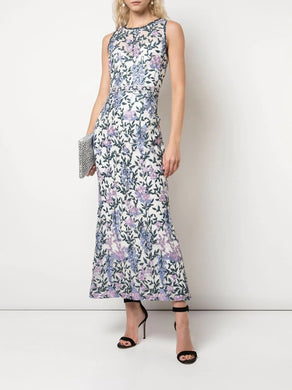 Sleeveless Floral Guipure Tea Length Dress