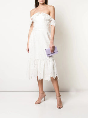 Off-the-Shoulder Chandelier Eyelet Cocktail Dress