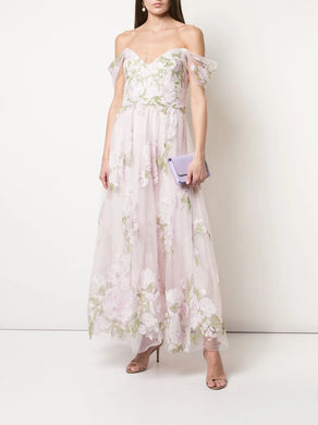 Cold Shoulder Embroidered Tulle Dress