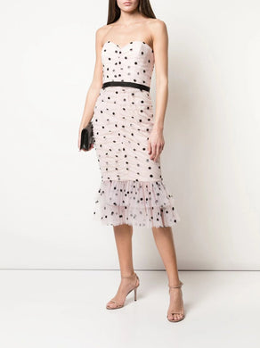 Strapless Sequin Dot Tulle Cocktail Dress