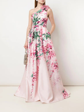 One-Shoulder Print Duchess Satin Ball Gown