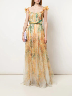 Draped Bodice Floral Print Gown