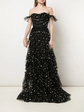 Sequin Dot Texture Gown