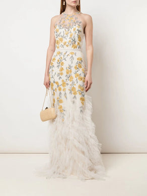 Fit-to-Flare Embroidered Beaded Gown