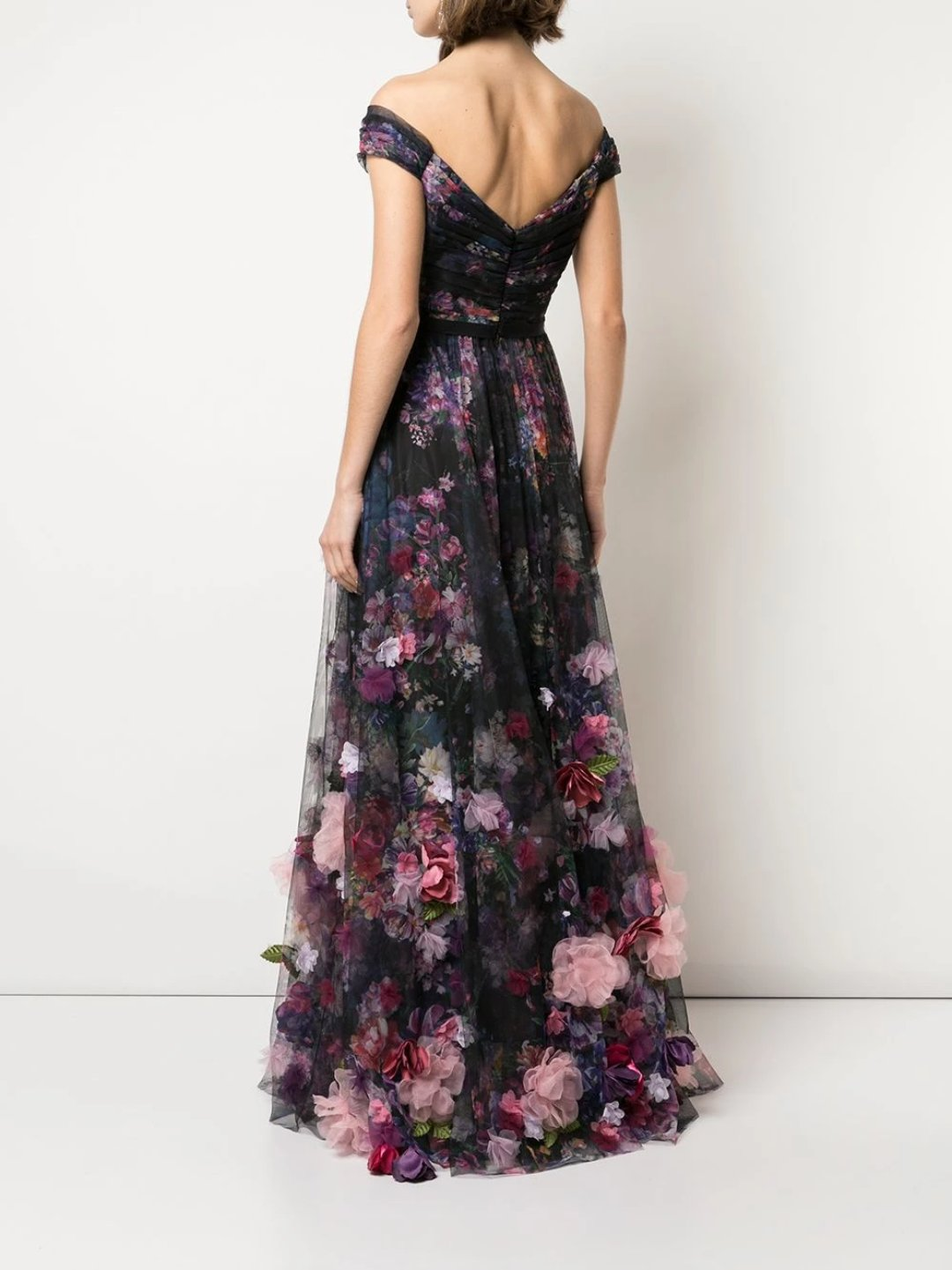 Floral Print Floor Length Gown