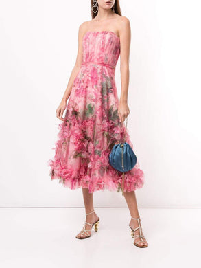 Floral Print Ruffled Trim Gown