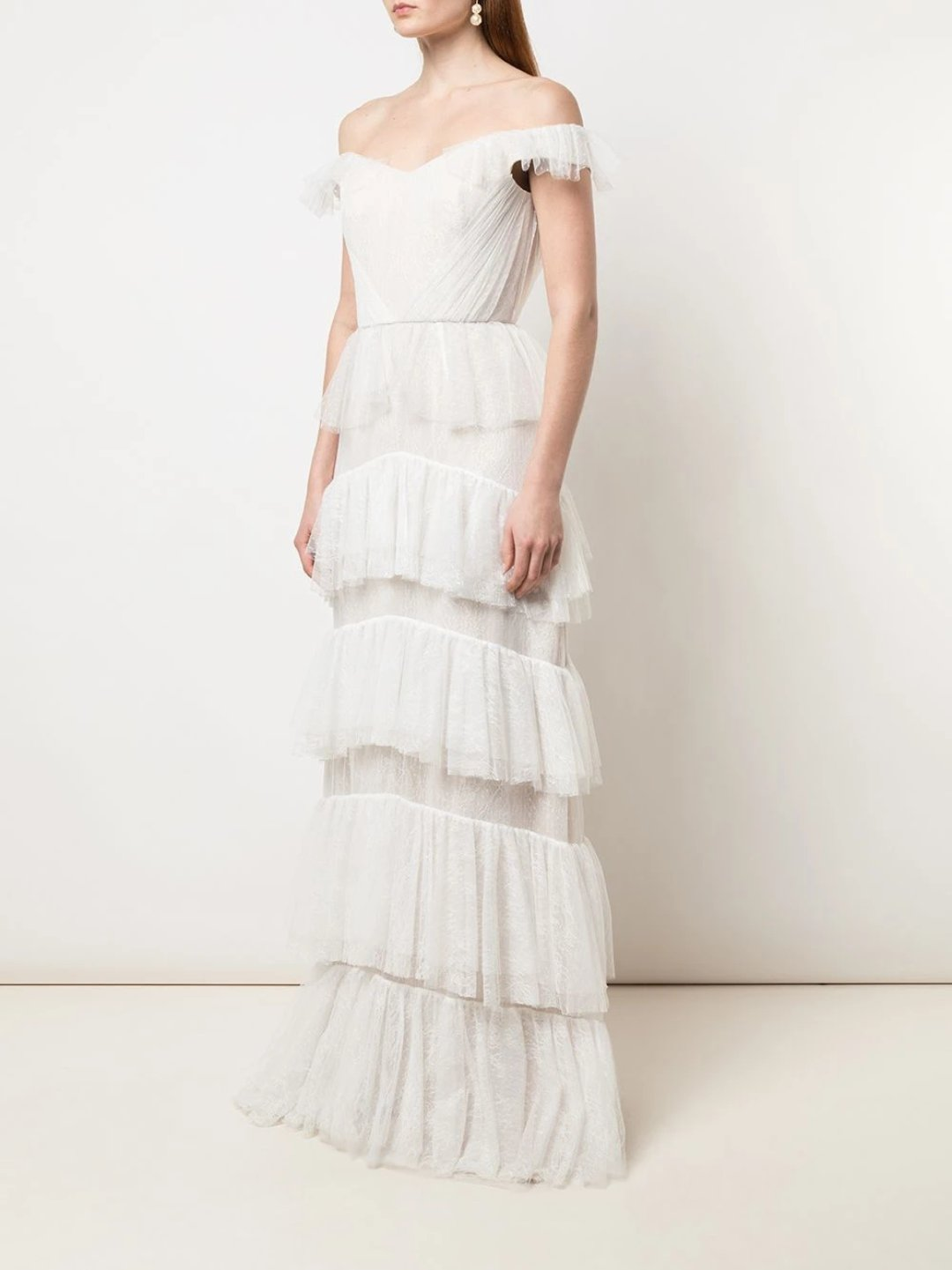 Off The Shoulder Lace Tiered Gown