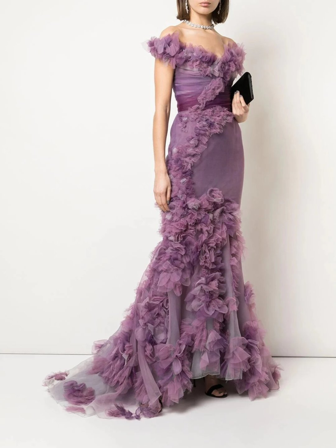 Wisteria Painted Ombre Organza Gown