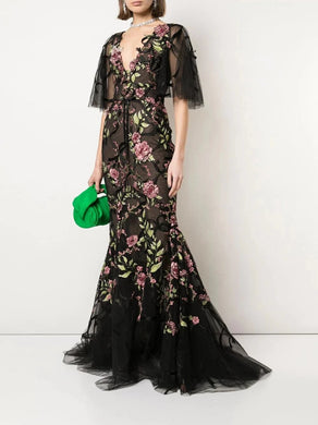 Ribbon Flower Embroidered Gown