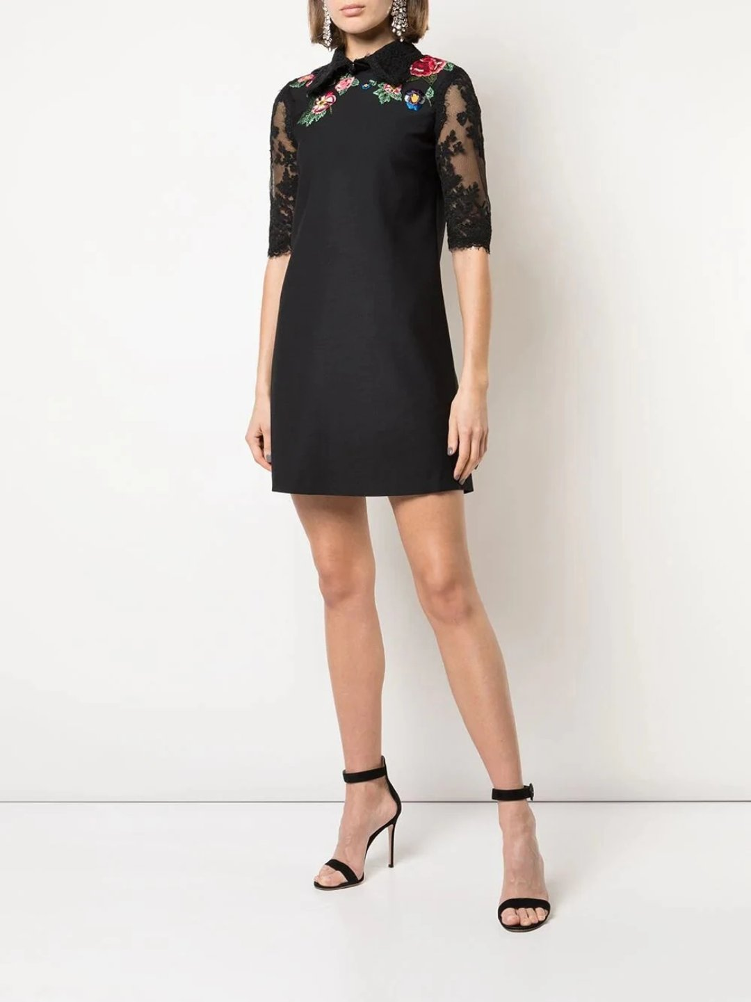 3/4-Length Sleeve A-Line Mini Day Dress