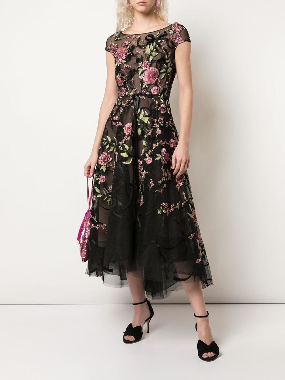 Floral Embroidered Midi Dress