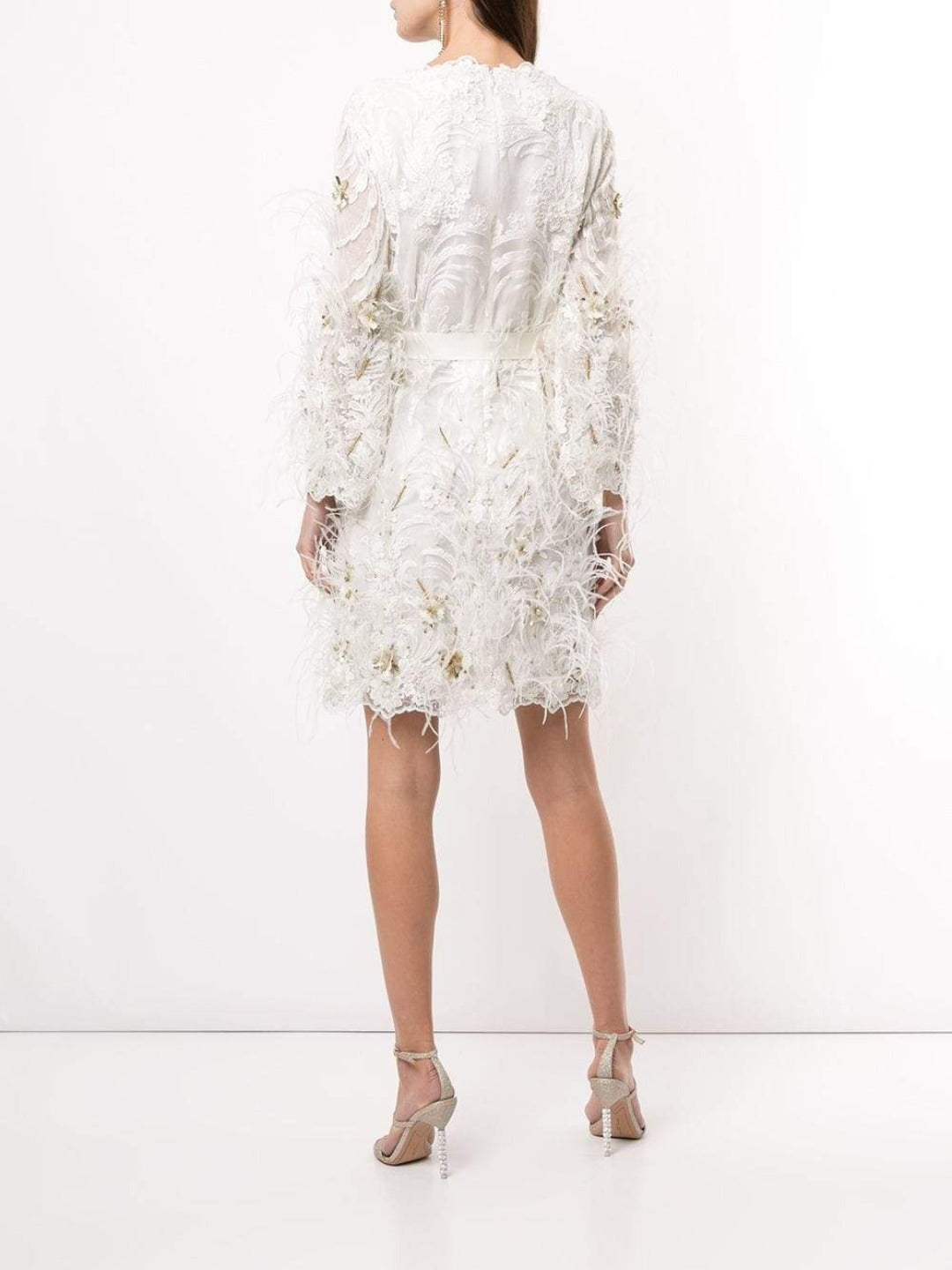 Feather Embellished Lace Dress