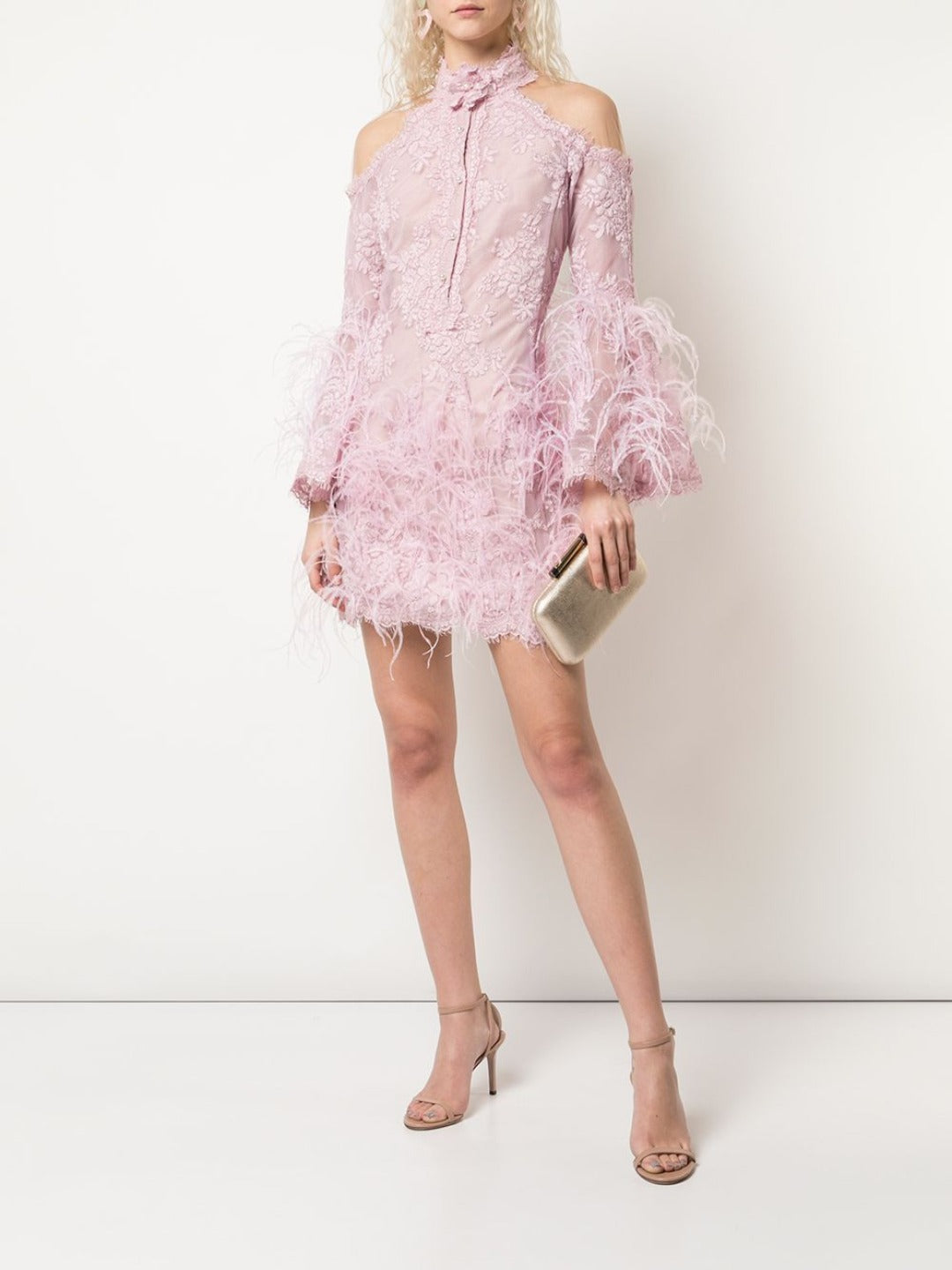 Feather Embellished Cocktail Dress