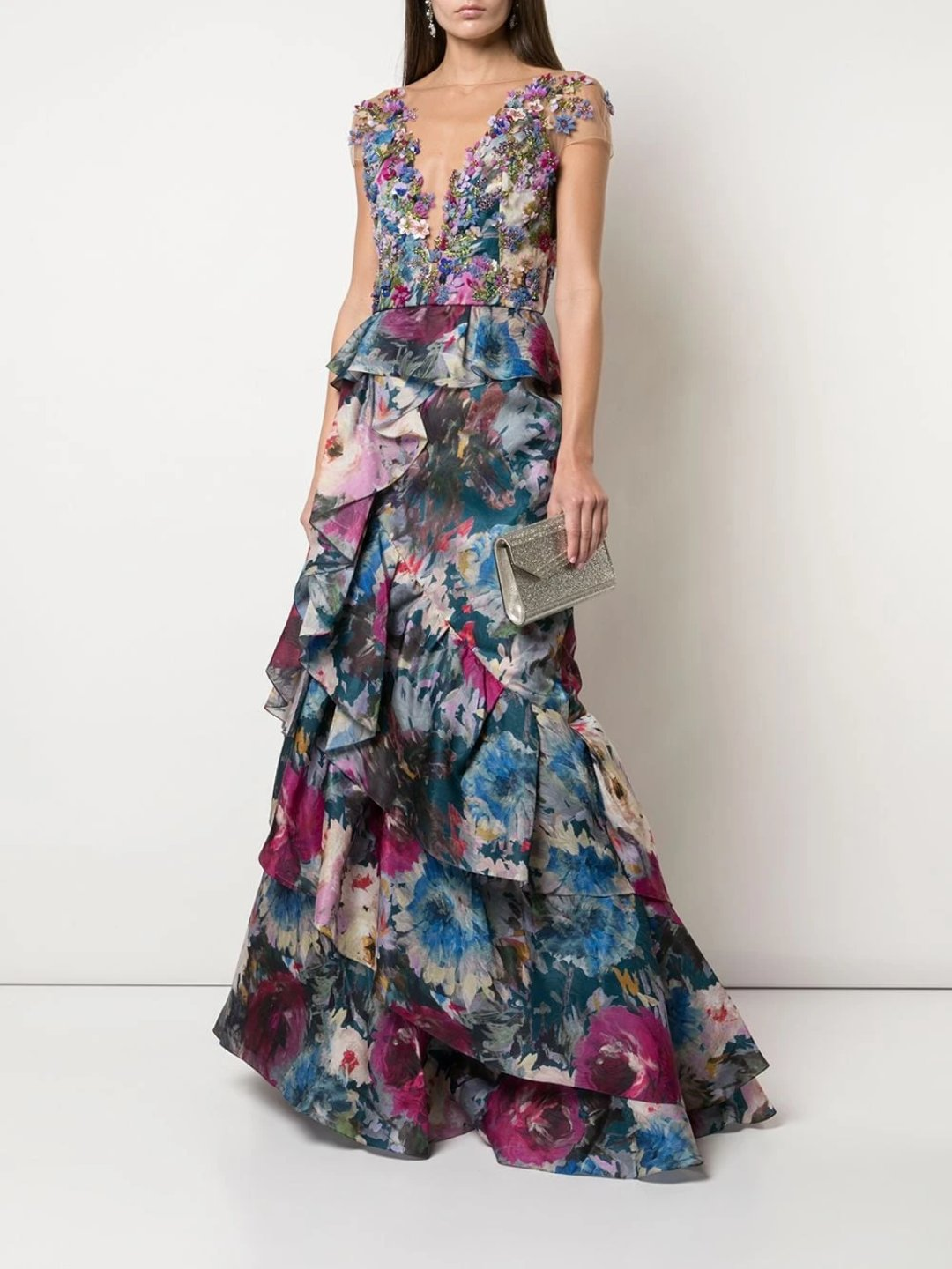 Floral Appliqué Tiered Gown
