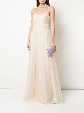 Sleeveless Ruched Bodice Tulle Gown