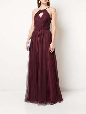 Cross-Halter Ruched Tulle Gown