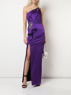 One-Shoulder Satin Gown