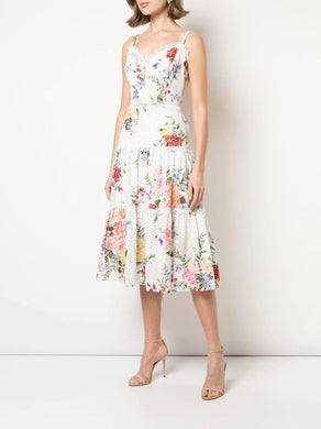 Printed Sleeveless Eyelet Midi