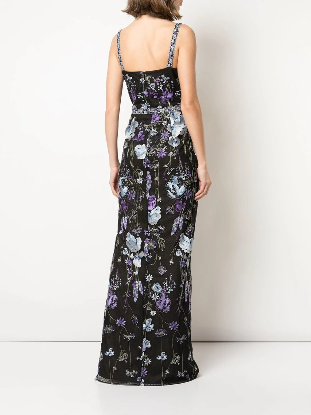 Scoop Neck Open Back Slim Column Gown.