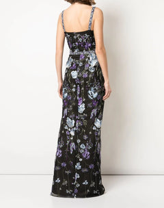 Load image into Gallery viewer, Scoop Neck Open Back Slim Column Gown.