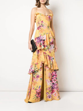 Asymmetrical Ruffle Hi-Low Gown